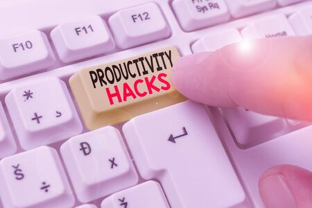 Photo for Conceptual hand writing showing Productivity Hacks. Concept meaning tricks that you get more done in the same amount of time - Royalty Free Image