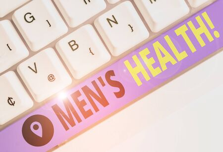 Foto de Word writing text Men S Health. Business photo showcasing state of complete physical mental and social well being by analysis - Imagen libre de derechos