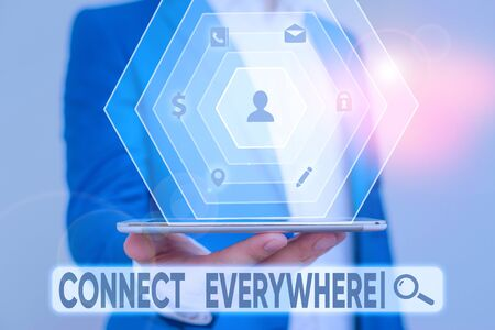 Photo for Writing note showing Connect Everywhere. Business concept for channel of communication available anywhere and anytime - Royalty Free Image