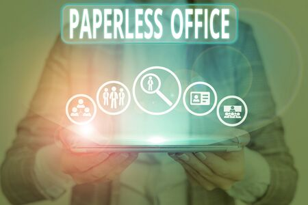 Photo for Conceptual hand writing showing Paperless Office. Concept meaning work environment in which the use of paper is eliminated - Royalty Free Image