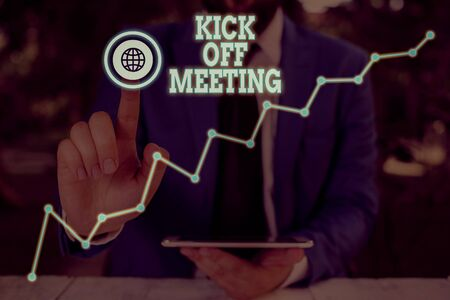 Conceptual hand writing showing Kick Off Meeting. Concept meaning getting fired from your team private talking about company