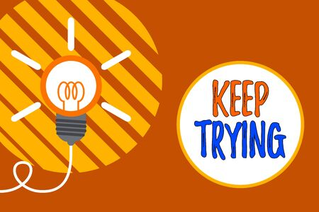 Photo for Text sign showing Keep Trying. Business photo showcasing continue to do something or to do something again and again Big idea light bulb. Successful turning idea invention innovation. Startup - Royalty Free Image