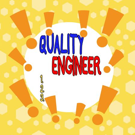 Photo pour Conceptual hand writing showing Quality Engineer. Concept meaning ensure the overall quality of a analysisufactured product Asymmetrical uneven shaped pattern object multicolour design - image libre de droit