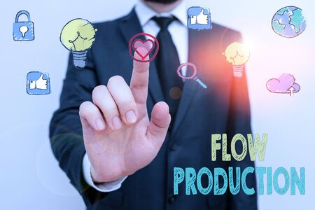 Photo pour Writing note showing Flow Production. Business concept for items are produced from one processing step to the next one - image libre de droit