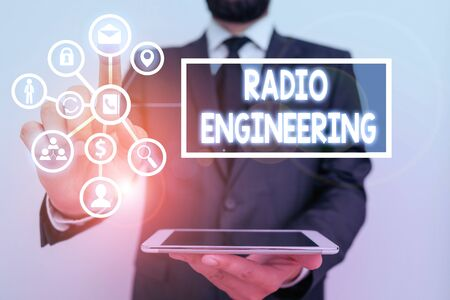 Photo for Text sign showing Radio Engineering. Business photo text Concerned with the operation and repair of radio equipment - Royalty Free Image