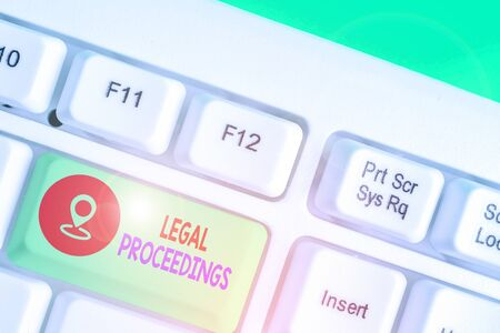 Writing note showing Legal Proceedings. Business concept for procedure instituted in a court of law to acquire benefit