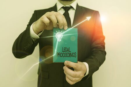 Word writing text Legal Proceedings. Business photo showcasing procedure instituted in a court of law to acquire benefit