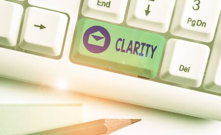 Photo pour Word writing text Clarity. Business photo showcasing Being coherent intelligible Understandable Clear ideas Precision - image libre de droit