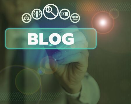Word writing text Blog. Business photo showcasing A regularly updated website web page written in conversational style