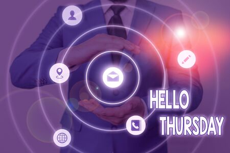 Photo for Conceptual hand writing showing Hello Thursday. Concept meaning the greeting used to welcome the day after wednesday - Royalty Free Image