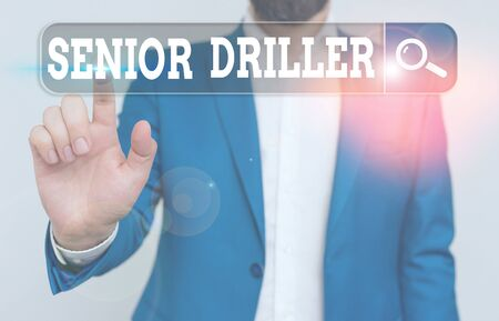 Text sign showing Senior Driller. Business photo showcasing supervise and formally assess onsite work activities