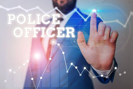 Photo pour Writing note showing Police Officer. Business concept for a demonstrating who is an officer of the law enforcement team - image libre de droit