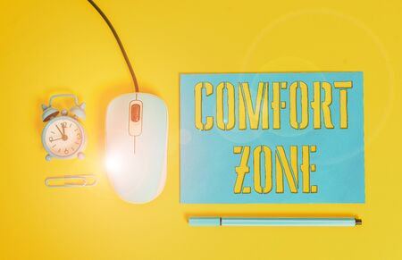 Photo for Handwriting text writing Comfort Zone. Conceptual photo place or situation where one feels safe and without stress Paper sheet alarm clock clip wire mouse gadget pencil colored background - Royalty Free Image