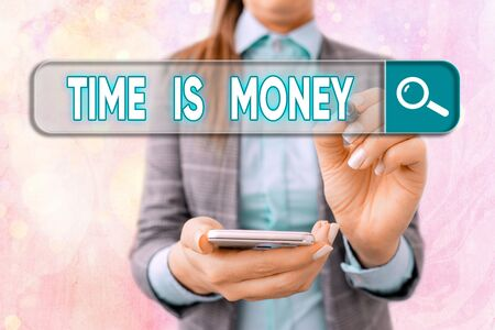 Text sign showing Time Is Money. Business photo text time is a valuable resource Do things as quickly as possible