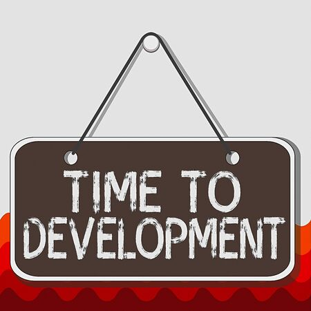 Photo pour Conceptual hand writing showing Time To Development. Concept meaning a length of time during which a company grows or develop Memo reminder empty board attached background rectangle - image libre de droit