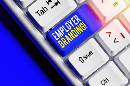 Photo pour Handwriting text writing Employer Branding. Conceptual photo promoting company employer choice to desired target group - image libre de droit