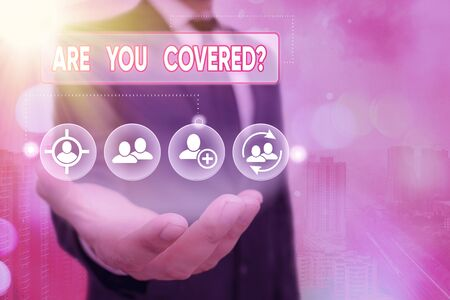 Foto de Word writing text Are You Covered Question. Business photo showcasing asking showing if they had insurance in work or life - Imagen libre de derechos