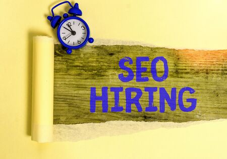 Conceptual hand writing showing Seo Hiring. Concept meaning employing a specialist will develop content to include keywords