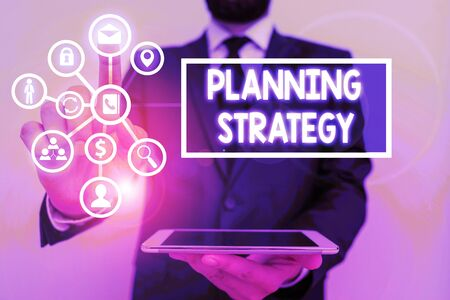 Photo pour Text sign showing Planning Strategy. Business photo text systematic process of envisioning a desired future - image libre de droit