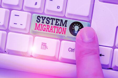 Photo pour Word writing text System Migration. Business photo showcasing moving from the use of one operating environment to another - image libre de droit