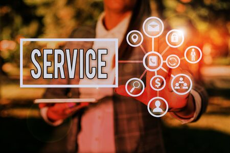 Photo for Text sign showing Service. Business photo showcasing valuable action or effort performed to satisfy or fulfill a deanalysisd - Royalty Free Image
