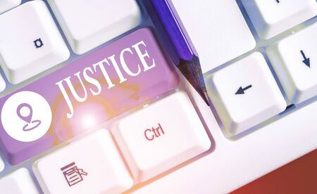 Text sign showing Justice. Business photo text Quality of being just impartial or fair Administration of law rules