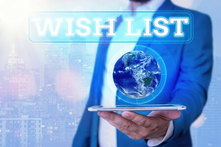 Photo pour Text sign showing Wish List. Business photo showcasing List of desired but often realistically unobtainable items - image libre de droit