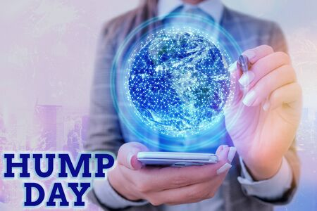 Photo for Text sign showing Hump Day. Business photo text climbing a proverbial hill to get through a tough week Wednesday . - Royalty Free Image