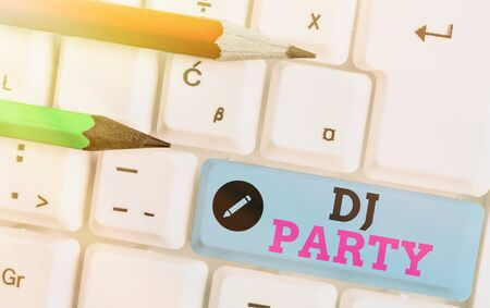 Photo for Writing note showing Dj Party. Business concept for demonstrating who introduces and plays recorded popular music on radio - Royalty Free Image