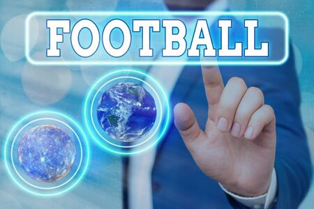 Foto per Text sign showing Football. Business photo showcasing any of various forms of team game involving kicking a ball - Immagine Royalty Free
