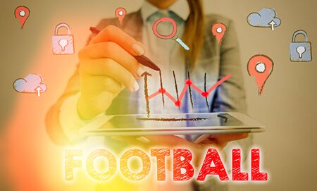 Foto per Conceptual hand writing showing Football. Concept meaning any of various forms of team game involving kicking a ball - Immagine Royalty Free