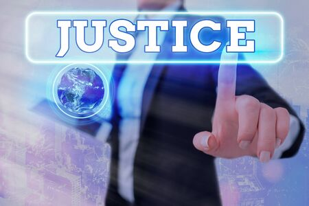 Writing note showing Justice. Business concept for Quality of being just impartial or fair Administration of law rules