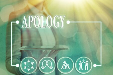 Photo for Conceptual hand writing showing Apology. Concept meaning a written or spoken expression of one s is regret remorse or sorrow - Royalty Free Image