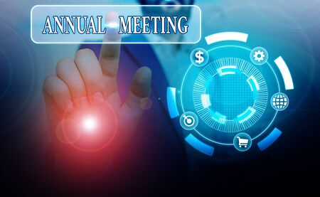 Photo pour Conceptual hand writing showing Annual Meeting. Concept meaning a meeting of the general membership of an organization - image libre de droit