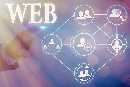 Photo for Conceptual hand writing showing Web. Concept meaning a system of Internet servers that support specially formatted documents - Royalty Free Image