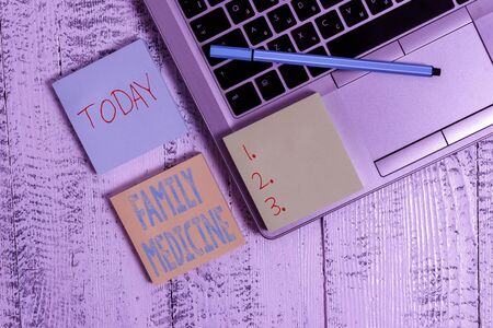 Writing note showing Family Medicine. Business concept for designed to provide basic healthcare to family members Trendy metallic laptop three sticky note pads pen on vintage table desk