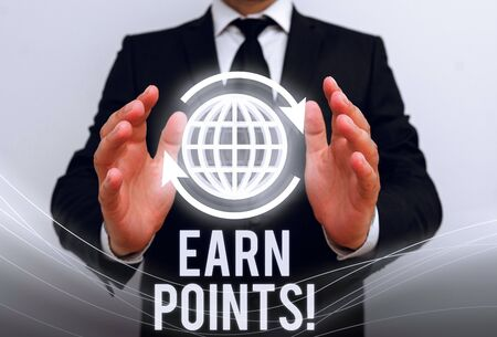 Photo for Writing note showing Earn Points. Business concept for collecting scores in order qualify to win big prize - Royalty Free Image