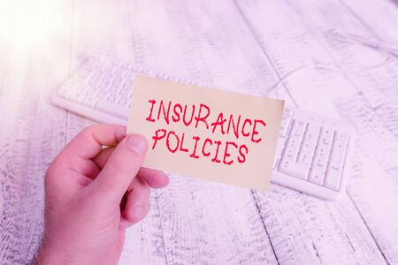 Photo pour Conceptual hand writing showing Insurance Policies. Concept meaning Documented Standard Form Contract Financial Reimbursement Man holding colorful reminder square shaped paper wood floor - image libre de droit