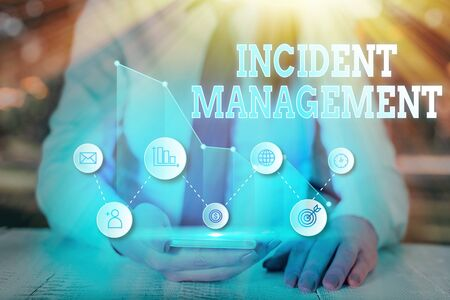 Photo for Writing note showing Incident Management. Business concept for Process to return Service to Normal Correct Hazards - Royalty Free Image