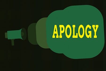 Photo for Text sign showing Apology. Business photo showcasing a written or spoken expression of one s is regret remorse or sorrow Megaphone making public announcement Speech Bubble gets bigger and nearer - Royalty Free Image
