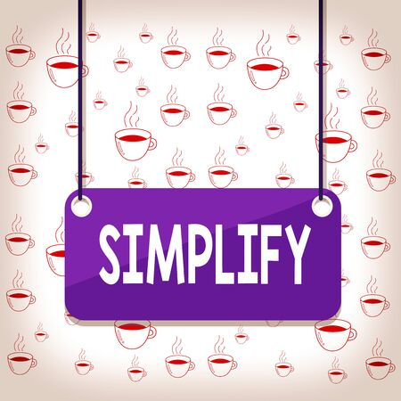 Photo pour Writing note showing Simplify. Business concept for make something simpler or easier to do or understand unravel Board color background plank attached string panel rectangle - image libre de droit