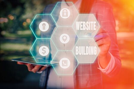 Photo for Conceptual hand writing showing Website Building. Concept meaning tools that typically allow the construction of pages - Royalty Free Image