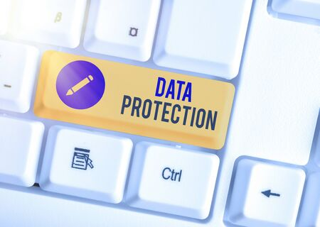 Foto de Word writing text Data Protection. Business photo showcasing Protect IP addresses and an individualal data from harmful software - Imagen libre de derechos