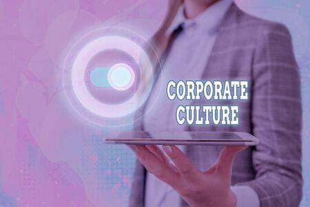 Photo pour Text sign showing Corporate Culture. Business photo showcasing Beliefs and ideas that a company has Shared values - image libre de droit