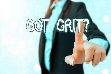 Photo pour Writing note showing Got Grit Question. Business concept for A hardwork with perseverance towards the desired goal - image libre de droit
