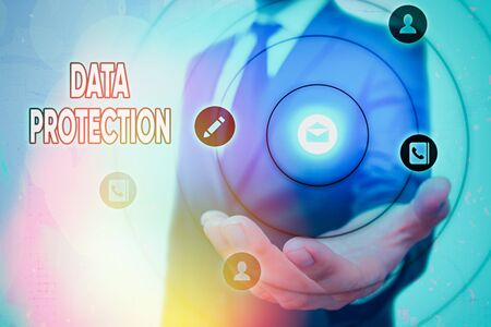 Foto de Text sign showing Data Protection. Business photo text Protect IP addresses and an individualal data from harmful software - Imagen libre de derechos