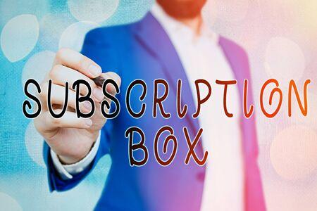 Foto de Handwriting text Subscription Box. Conceptual photo button if you clicked on will get news or videos about site - Imagen libre de derechos