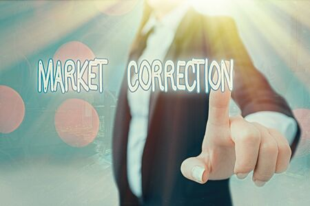 Photo for Writing note showing Market Correction. Business concept for When prices fall 10 percent from the 52 week high - Royalty Free Image