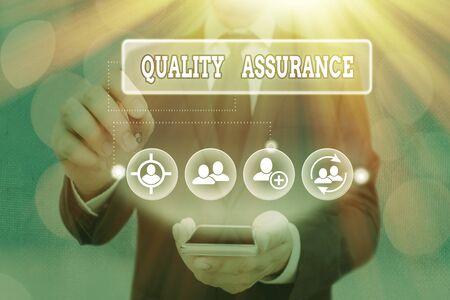 Photo pour Text sign showing Quality Assurance. Business photo showcasing Ensures a certain level of quality Established requirement - image libre de droit