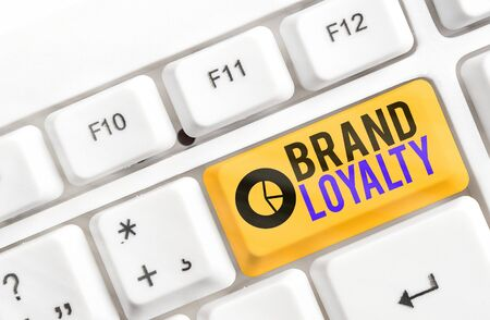 Photo pour Writing note showing Brand Loyalty. Business concept for Repeat Purchase Ambassador Patronage Favorite Trusted - image libre de droit